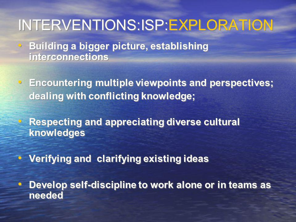 INTERVENTIONS:ISP:EXPLORATION Building a bigger picture, establishing interconnections Encountering multiple viewpoints and perspectives; dealing with