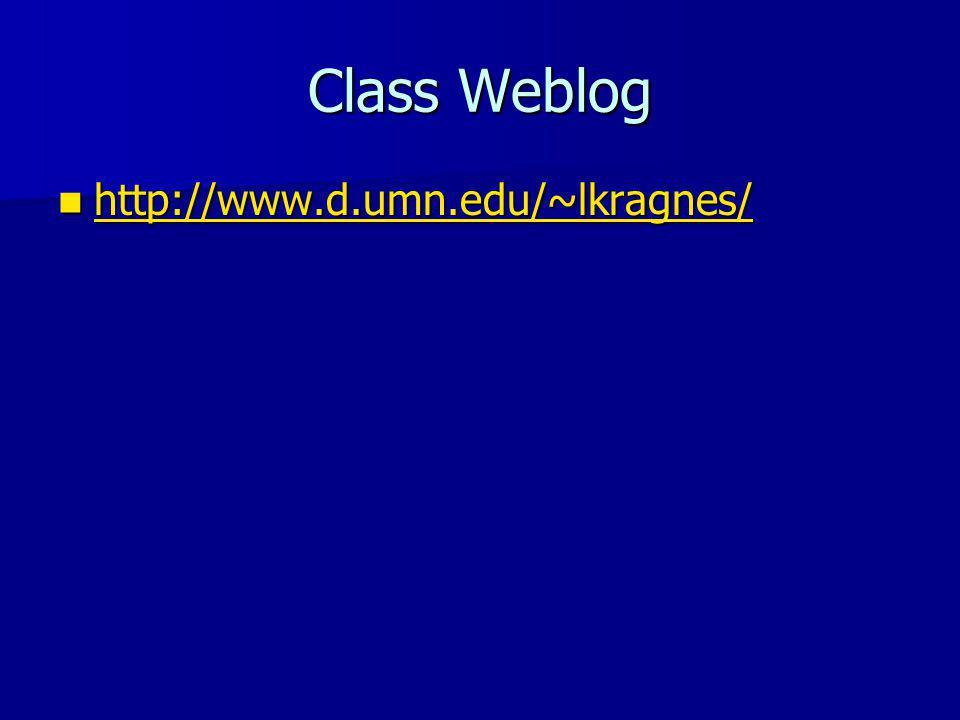 Class Weblog http://www.d.umn.edu/~lkragnes/ http://www.d.umn.edu/~lkragnes/ http://www.d.umn.edu/~lkragnes/