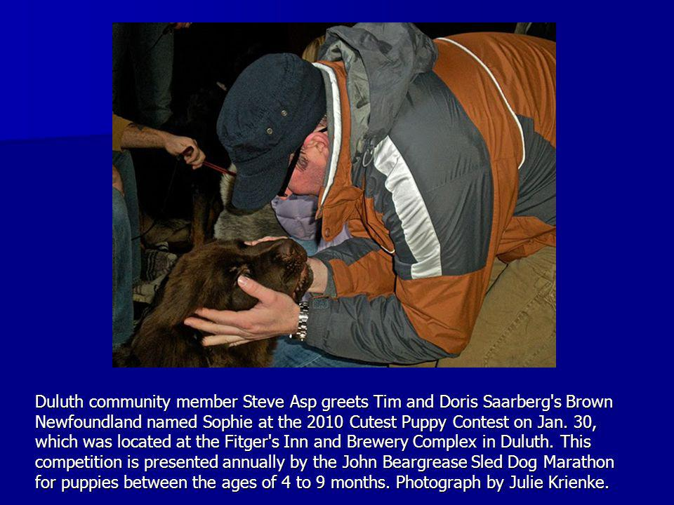Duluth community member Steve Asp greets Tim and Doris Saarberg s Brown Newfoundland named Sophie at the 2010 Cutest Puppy Contest on Jan.