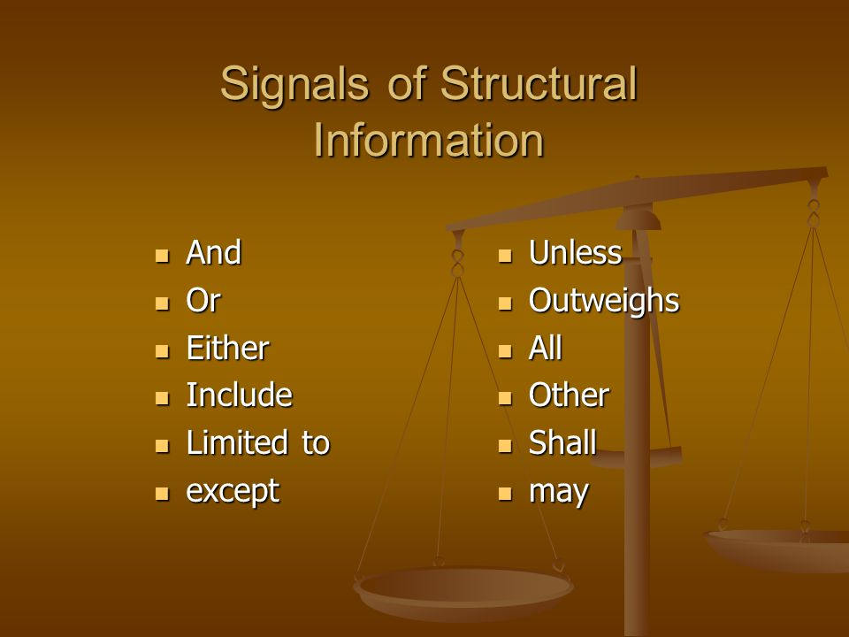Signals of Structural Information And And Or Or Either Either Include Include Limited to Limited to except except Unless Outweighs All Other Shall may