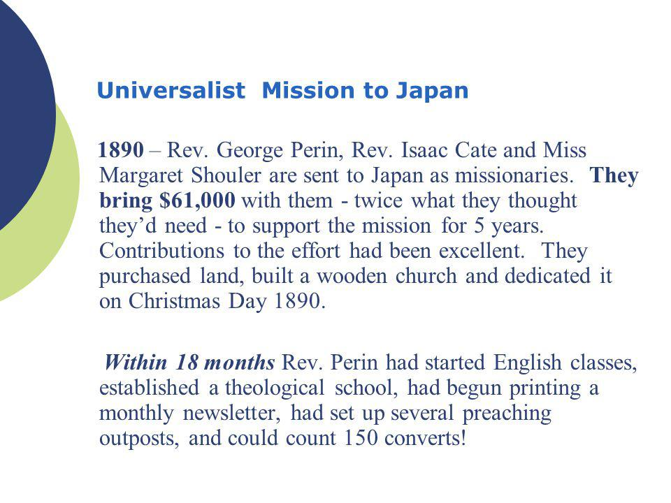 Universalist Mission to Japan 1890 – Rev. George Perin, Rev.