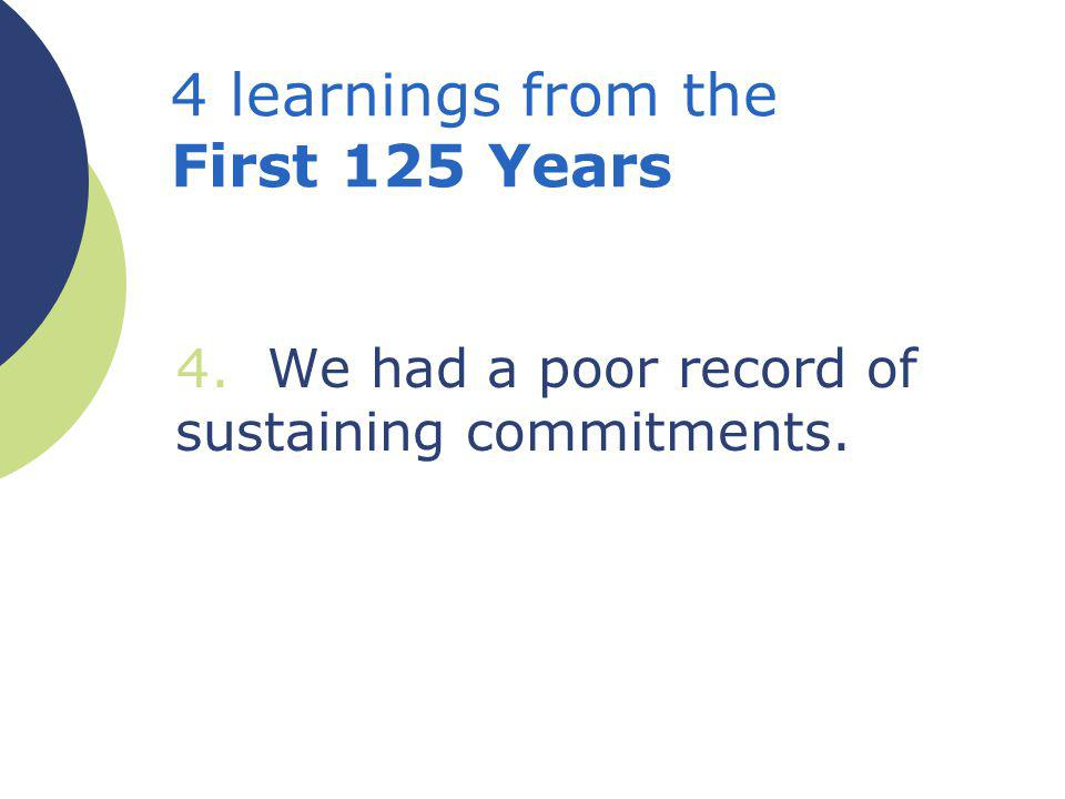 4. We had a poor record of sustaining commitments. 4 learnings from the First 125 Years