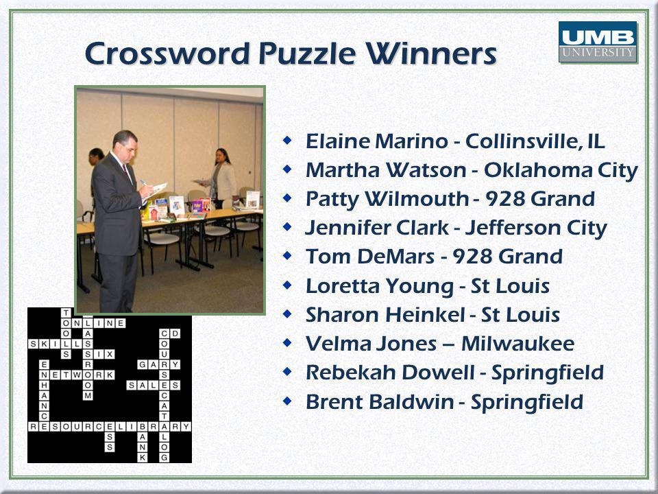 Crossword Puzzle Winners wElaine Marino - Collinsville, IL wMartha Watson - Oklahoma City wPatty Wilmouth - 928 Grand wJennifer Clark - Jefferson City wTom DeMars - 928 Grand wLoretta Young - St Louis wSharon Heinkel - St Louis wVelma Jones – Milwaukee wRebekah Dowell - Springfield wBrent Baldwin - Springfield wElaine Marino - Collinsville, IL wMartha Watson - Oklahoma City wPatty Wilmouth - 928 Grand wJennifer Clark - Jefferson City wTom DeMars - 928 Grand wLoretta Young - St Louis wSharon Heinkel - St Louis wVelma Jones – Milwaukee wRebekah Dowell - Springfield wBrent Baldwin - Springfield