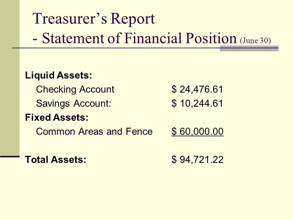 Treasurers Report - Statement of Financial Position (June 30) Liquid Assets: Checking Account$ 24, Savings Account:$ 10, Fixed Assets: Common Areas and Fence$ 60, Total Assets:$ 94,721.22
