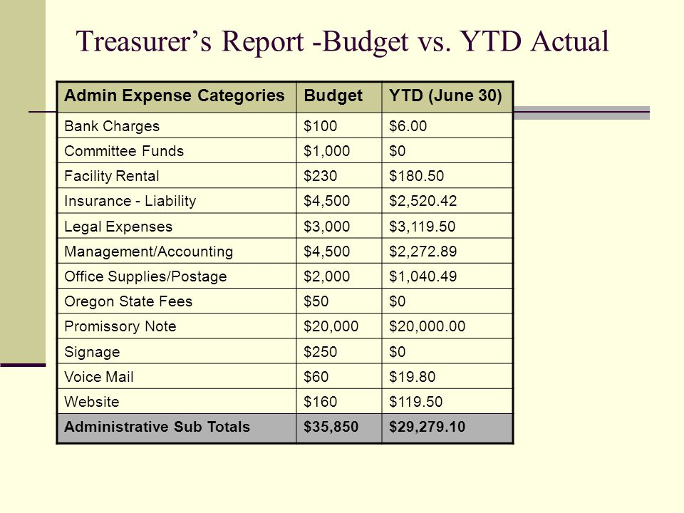 Treasurers Report -Budget vs.