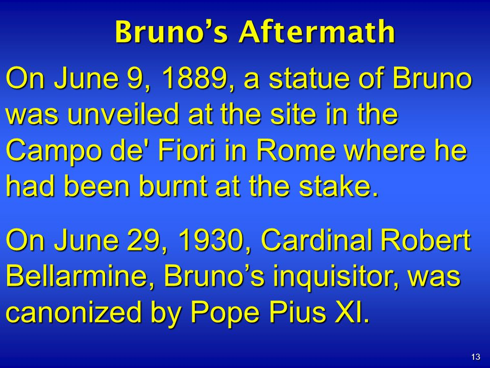 13 Brunos Aftermath On June 9, 1889, a statue of Bruno was unveiled at the site in the Campo de' Fiori in Rome where he had been burnt at the stake. O
