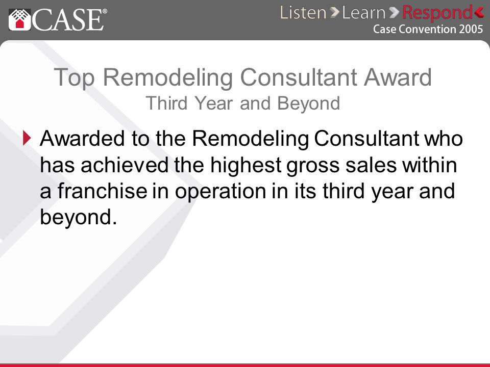 Top Remodeling Consultant Award Third Year and Beyond Awarded to the Remodeling Consultant who has achieved the highest gross sales within a franchise in operation in its third year and beyond.