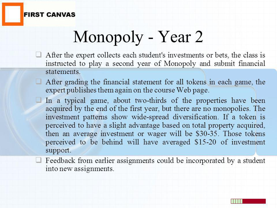 Monopoly - Year 2 After the expert collects each student's investments or bets, the class is instructed to play a second year of Monopoly and submit f