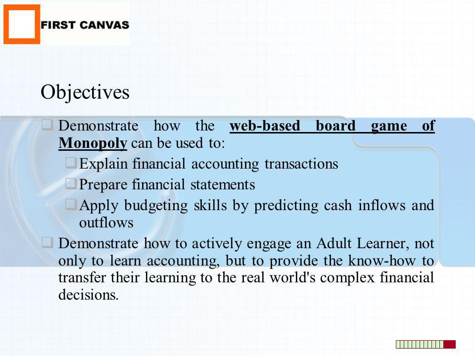 Objectives Demonstrate how the web-based board game of Monopoly can be used to: Explain financial accounting transactions Prepare financial statements