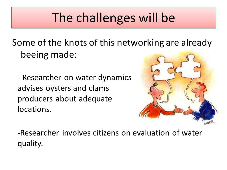 The challenges will be The challenges will be Some of the knots of this networking are already beeing made: - Researcher on water dynamics advises oysters and clams producers about adequate locations.
