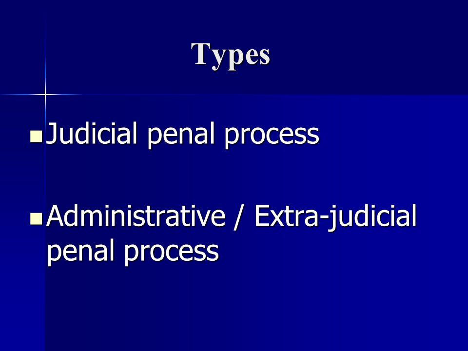Types Judicial penal process Judicial penal process Administrative / Extra-judicial penal process Administrative / Extra-judicial penal process