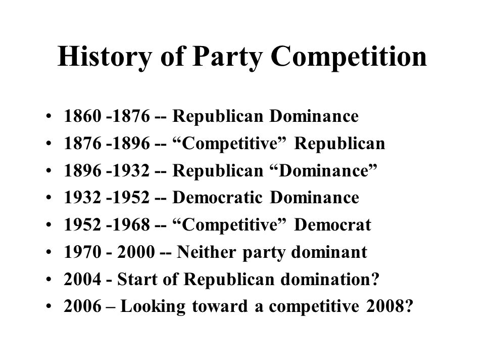 History of Party Competition 1860 -1876 -- Republican Dominance 1876 -1896 -- Competitive Republican 1896 -1932 -- Republican Dominance 1932 -1952 --