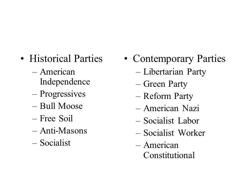 Historical Parties –American Independence –Progressives –Bull Moose –Free Soil –Anti-Masons –Socialist Contemporary Parties –Libertarian Party –Green