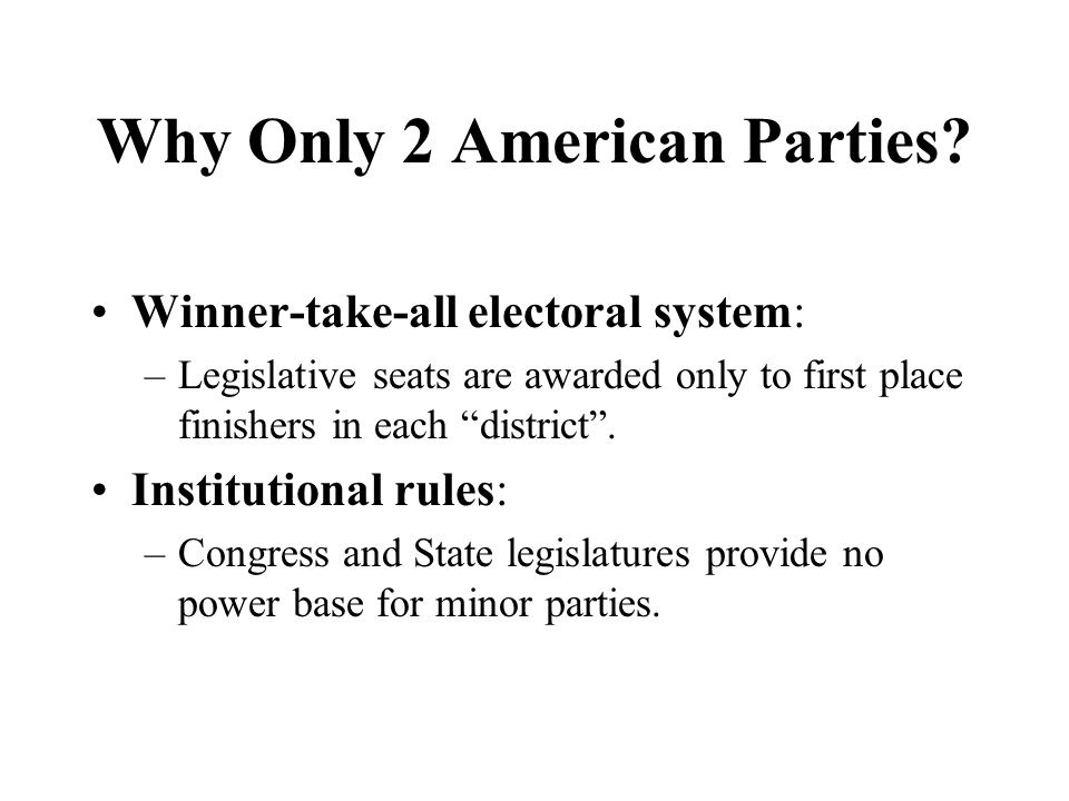 Why Only 2 American Parties? Winner-take-all electoral system: –Legislative seats are awarded only to first place finishers in each district. Institut
