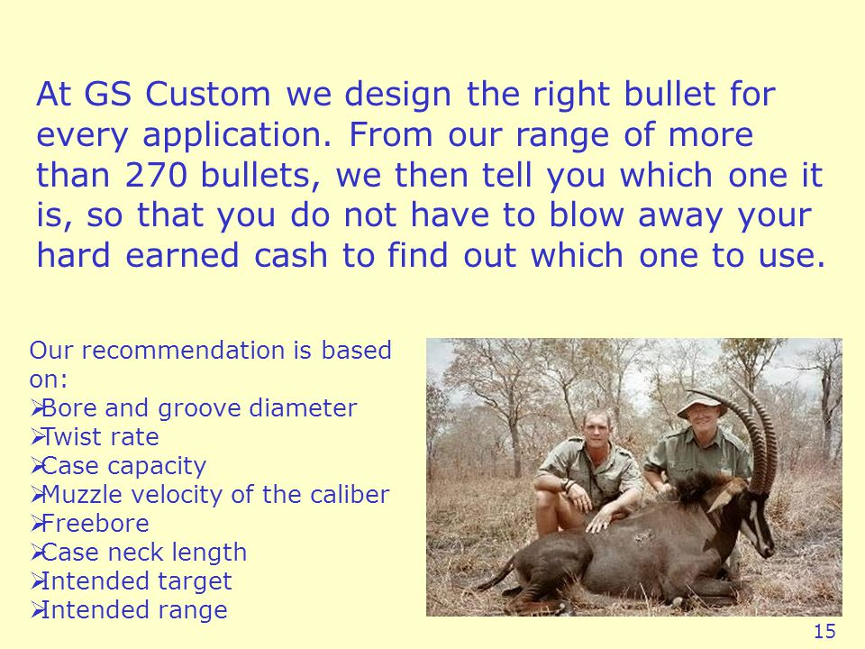 At GS Custom we design the right bullet for every application.