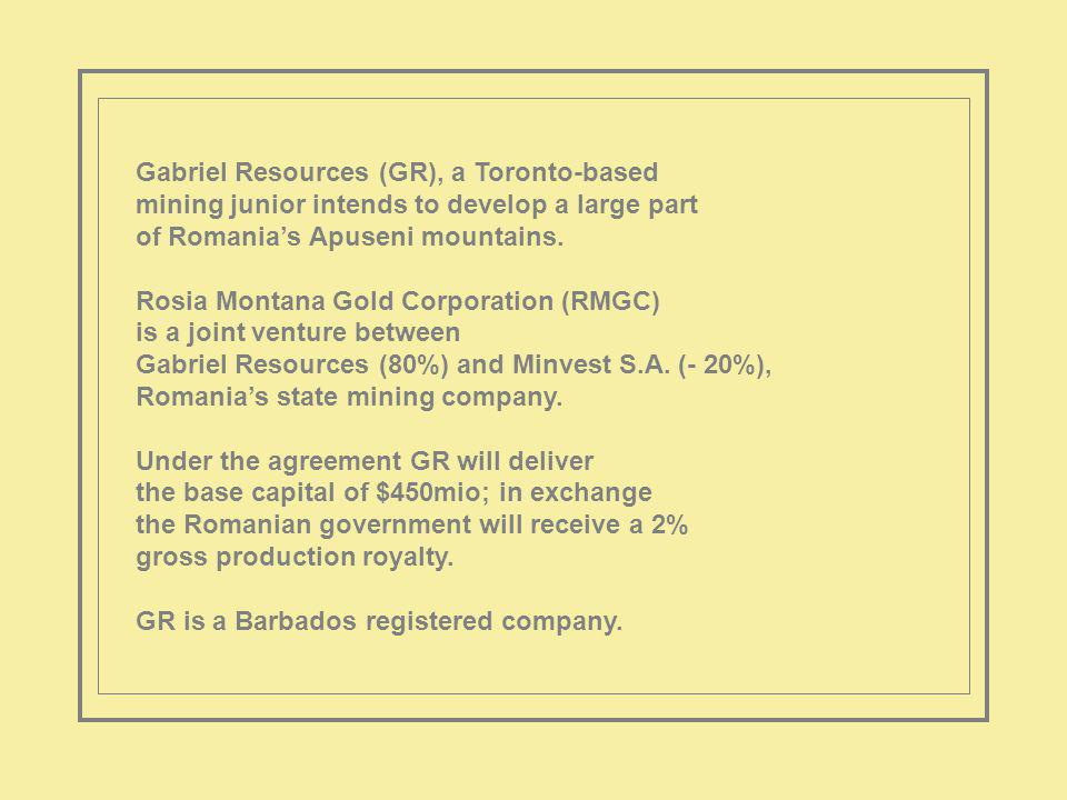 The project covers an initial 1600ha; including Rosia Montana and Corna.