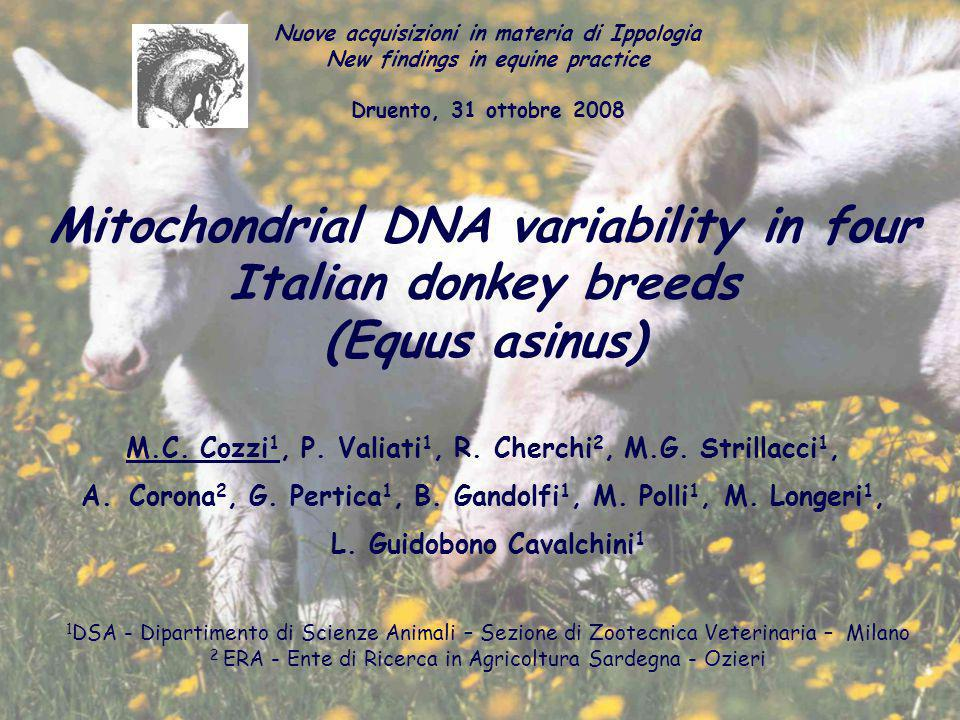 Mitochondrial DNA variability in four Italian donkey breeds (Equus asinus) M.C.