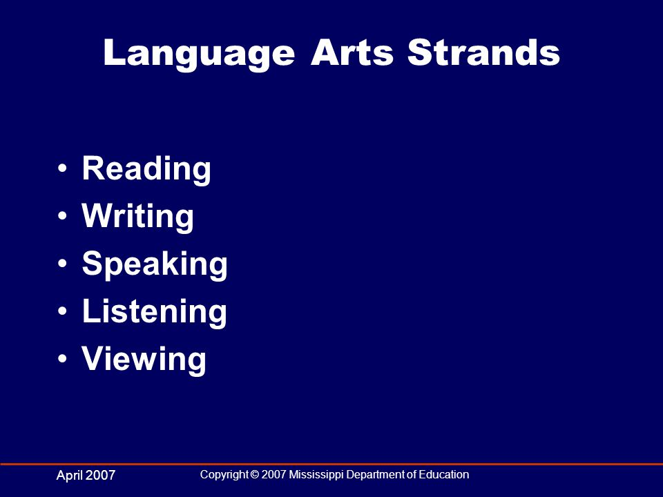 April 2007 Copyright © 2007 Mississippi Department of Education Language Arts Strands Reading Writing Speaking Listening Viewing