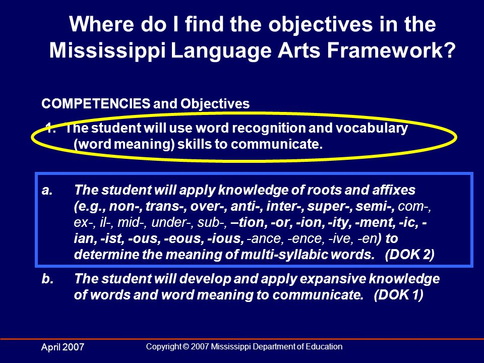 April 2007 Copyright © 2007 Mississippi Department of Education Where do I find the objectives in the Mississippi Language Arts Framework.