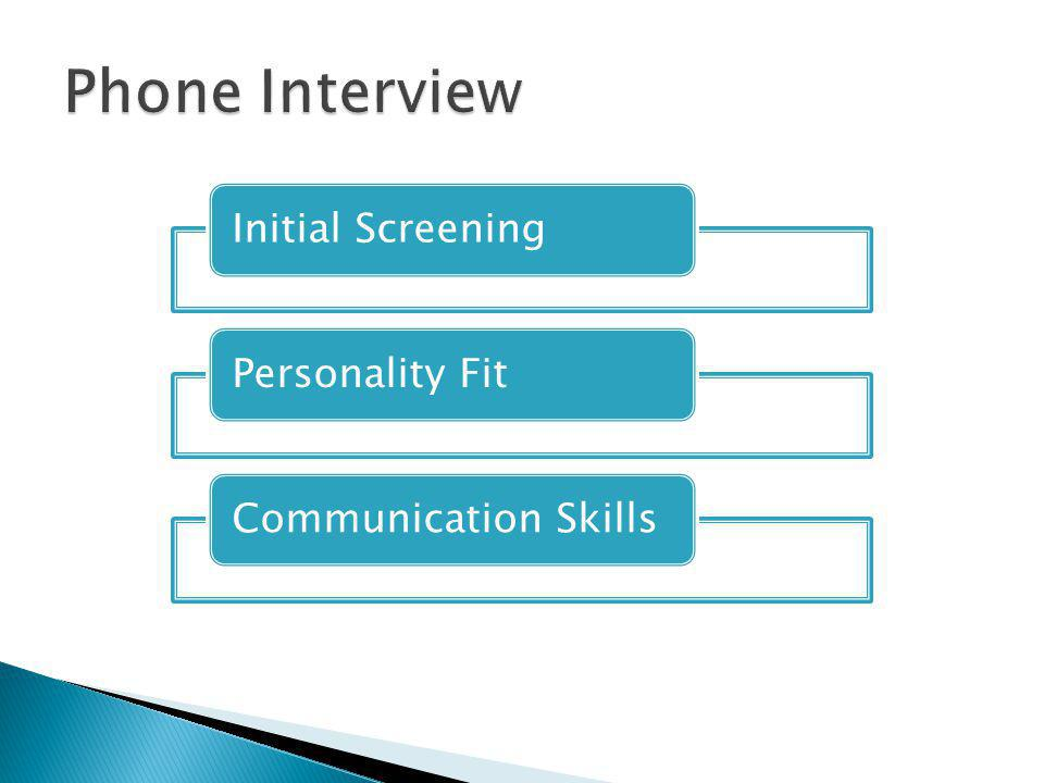 Initial ScreeningPersonality FitCommunication Skills