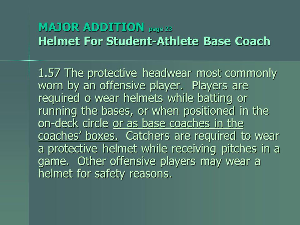 MAJOR ADDITION page 23 Helmet For Student-Athlete Base Coach 1.57 The protective headwear most commonly worn by an offensive player.