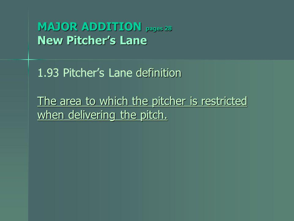 MAJOR ADDITION pages 28 New Pitchers Lane definition 1.93 Pitchers Lane definition The area to which the pitcher is restricted when delivering the pitch.