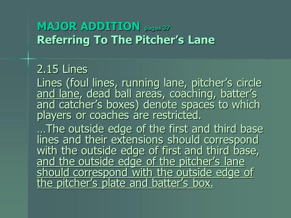 MAJOR ADDITION pages 38 Referring To The New Pitchers Lane 2.19 Pitchers Lane The area to which the pitcher is restricted when delivering the pitch.