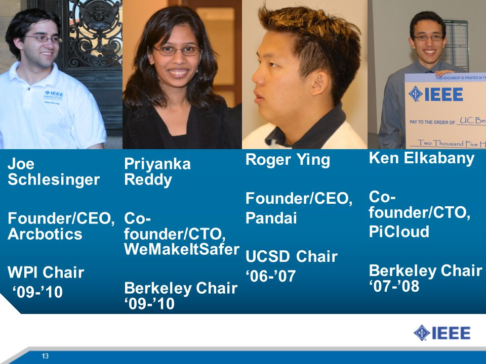 13 Joe Schlesinger Founder/CEO, Arcbotics WPI Chair 09-10 Priyanka Reddy Co- founder/CTO, WeMakeItSafer Berkeley Chair 09-10 Roger Ying Founder/CEO, P