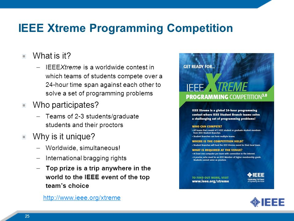 What is it? –IEEEXtreme is a worldwide contest in which teams of students compete over a 24-hour time span against each other to solve a set of progra