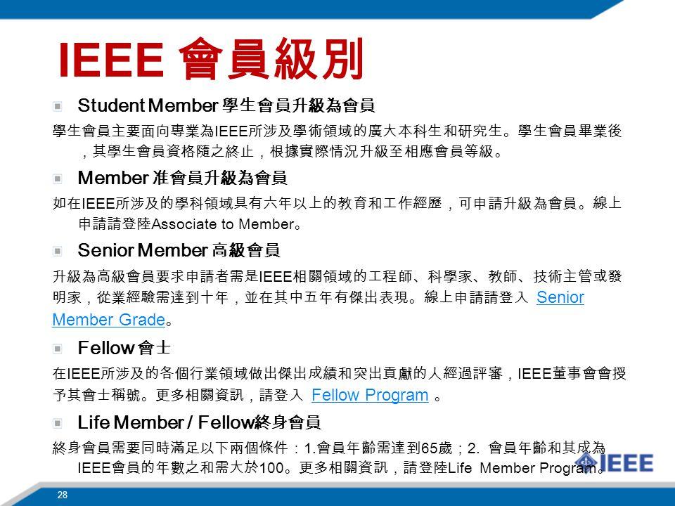 IEEE Student Member IEEE Member IEEE Associate to Member Senior Member IEEE Senior Member Grade Senior Member Grade Fellow IEEE IEEE Fellow Program Fellow Program Life Member / Fellow 1.