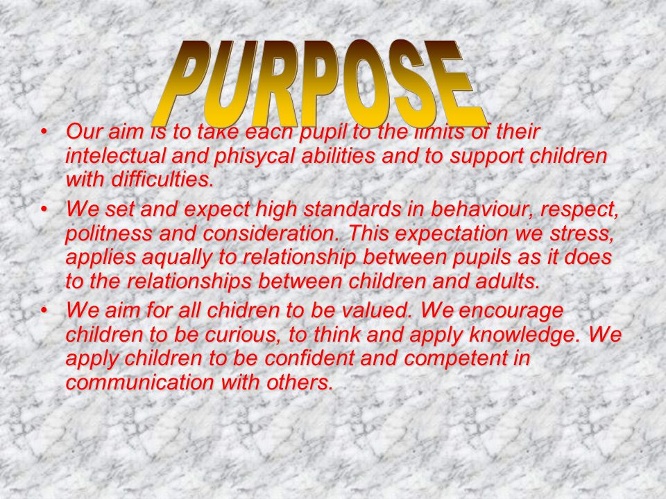 Our aim is to take each pupil to the limits of their intelectual and phisycal abilities and to support children with difficulties.Our aim is to take e