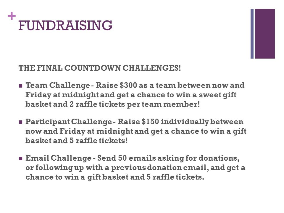 + FUNDRAISING Any Pre or Post Event Team Fundraisers??.