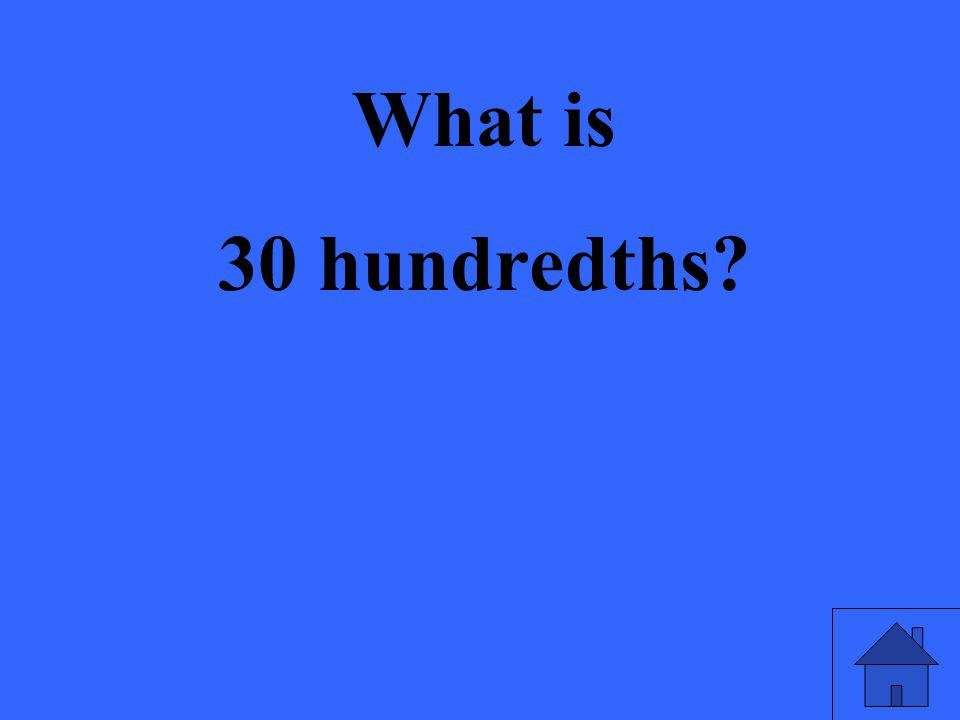 What is 30 hundredths