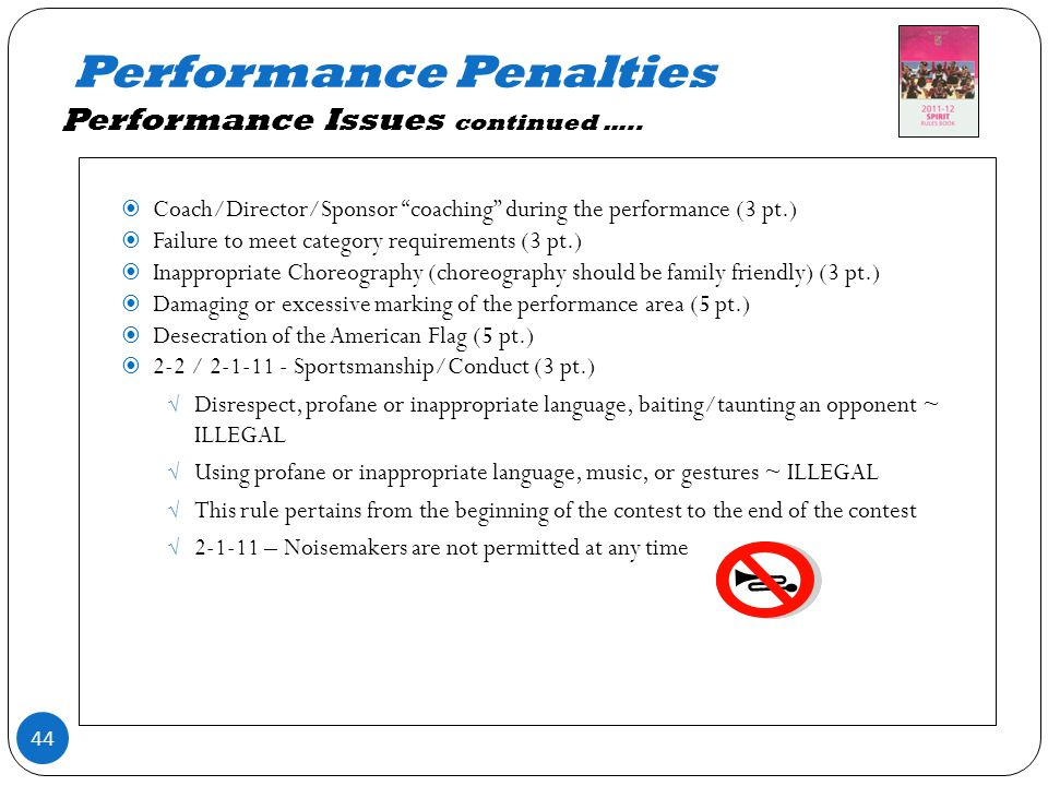 Performance Penalties Performance Issues continued …..