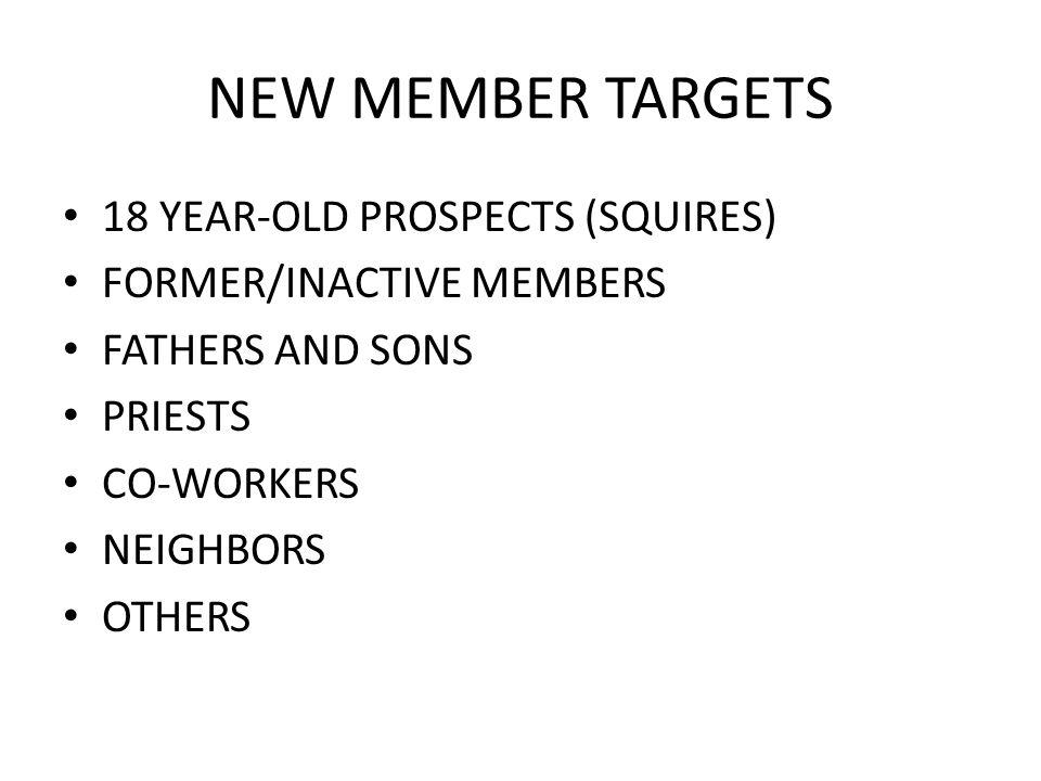 NEW MEMBER TARGETS 18 YEAR-OLD PROSPECTS (SQUIRES) FORMER/INACTIVE MEMBERS FATHERS AND SONS PRIESTS CO-WORKERS NEIGHBORS OTHERS
