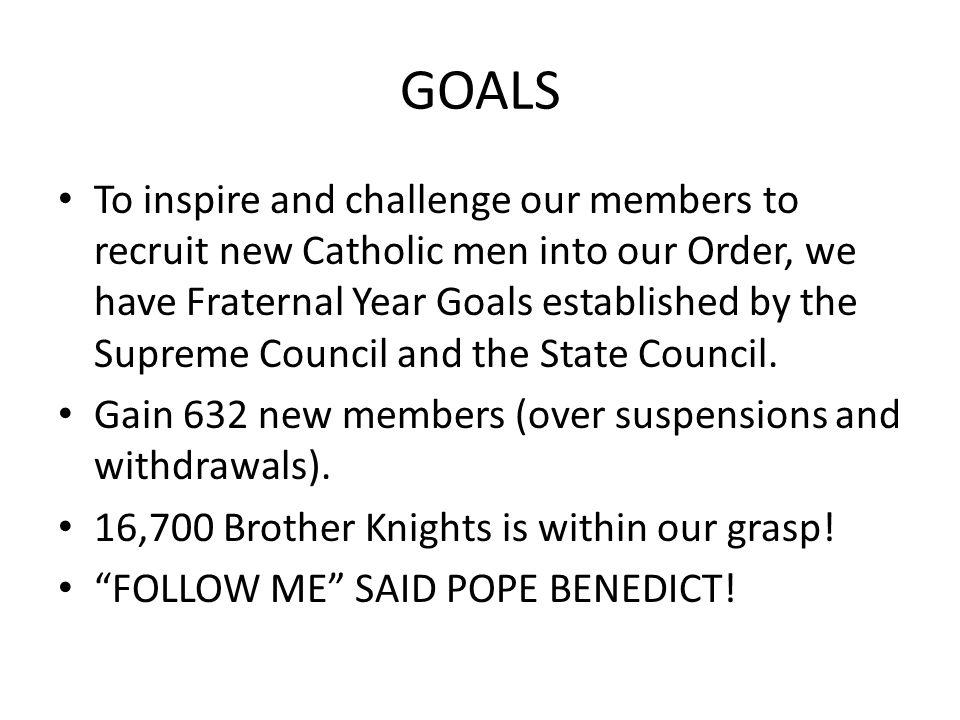 GOALS To inspire and challenge our members to recruit new Catholic men into our Order, we have Fraternal Year Goals established by the Supreme Council and the State Council.