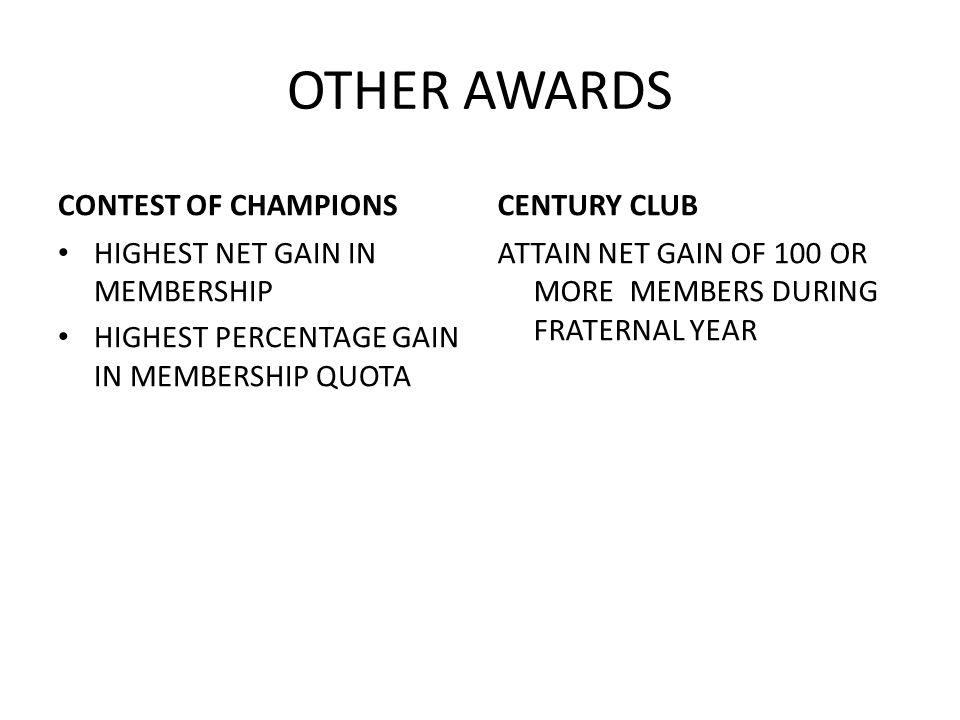 OTHER AWARDS CONTEST OF CHAMPIONS HIGHEST NET GAIN IN MEMBERSHIP HIGHEST PERCENTAGE GAIN IN MEMBERSHIP QUOTA CENTURY CLUB ATTAIN NET GAIN OF 100 OR MORE MEMBERS DURING FRATERNAL YEAR