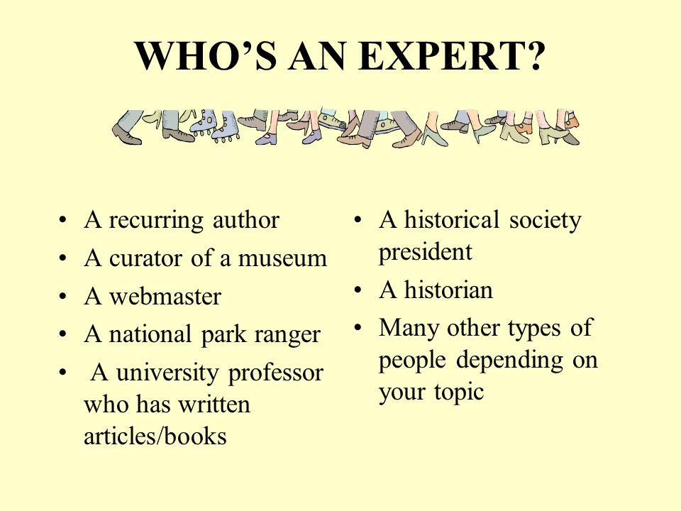 WHOS AN EXPERT.
