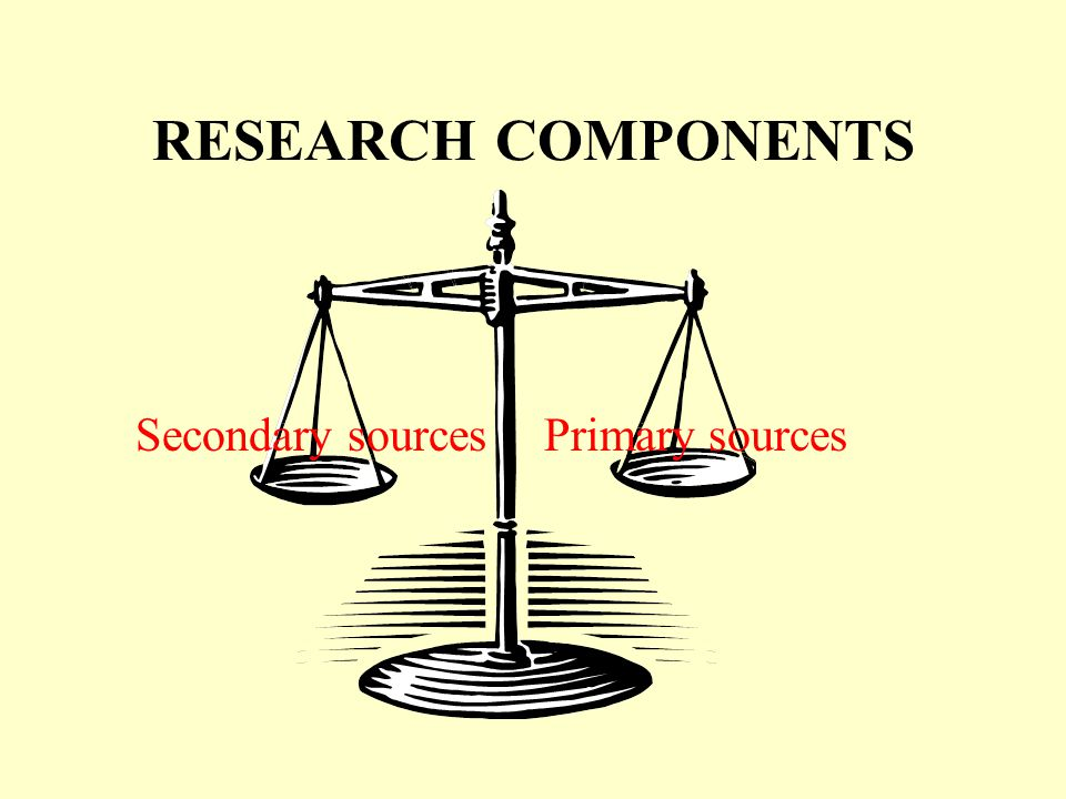 RESEARCH COMPONENTS Primary sourcesSecondary sources