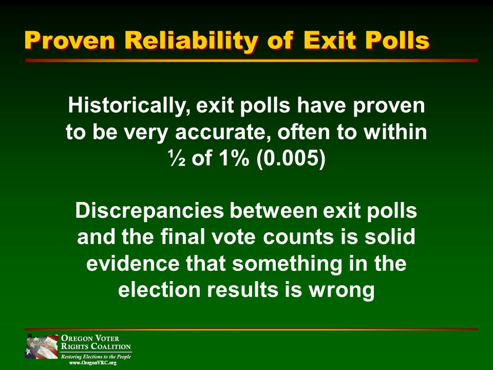 www.OregonVRC.org Historically, exit polls have proven to be very accurate, often to within ½ of 1% (0.005) Discrepancies between exit polls and the final vote counts is solid evidence that something in the election results is wrong Proven Reliability of Exit Polls