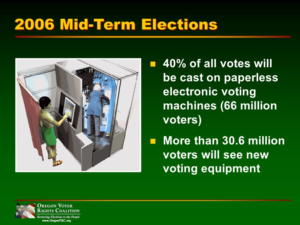 www.OregonVRC.org 40% of all votes will be cast on paperless electronic voting machines (66 million voters) More than 30.6 million voters will see new voting equipment 2006 Mid-Term Elections