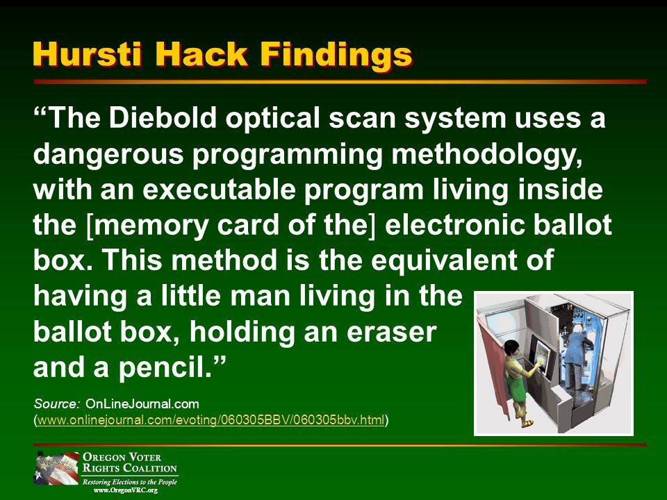 www.OregonVRC.org The Diebold optical scan system uses a dangerous programming methodology, with an executable program living inside the [memory card of the] electronic ballot box.