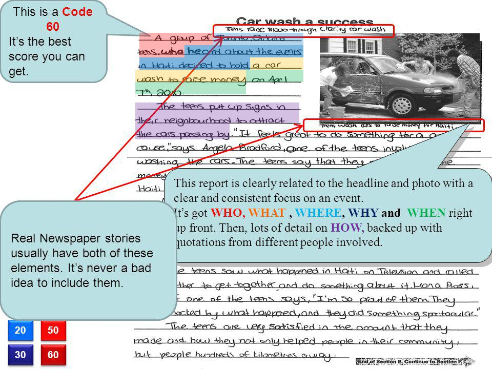 10 20 30 40 50 60 This is a Code 60 Its the best score you can get. This report is clearly related to the headline and photo with a clear and consiste