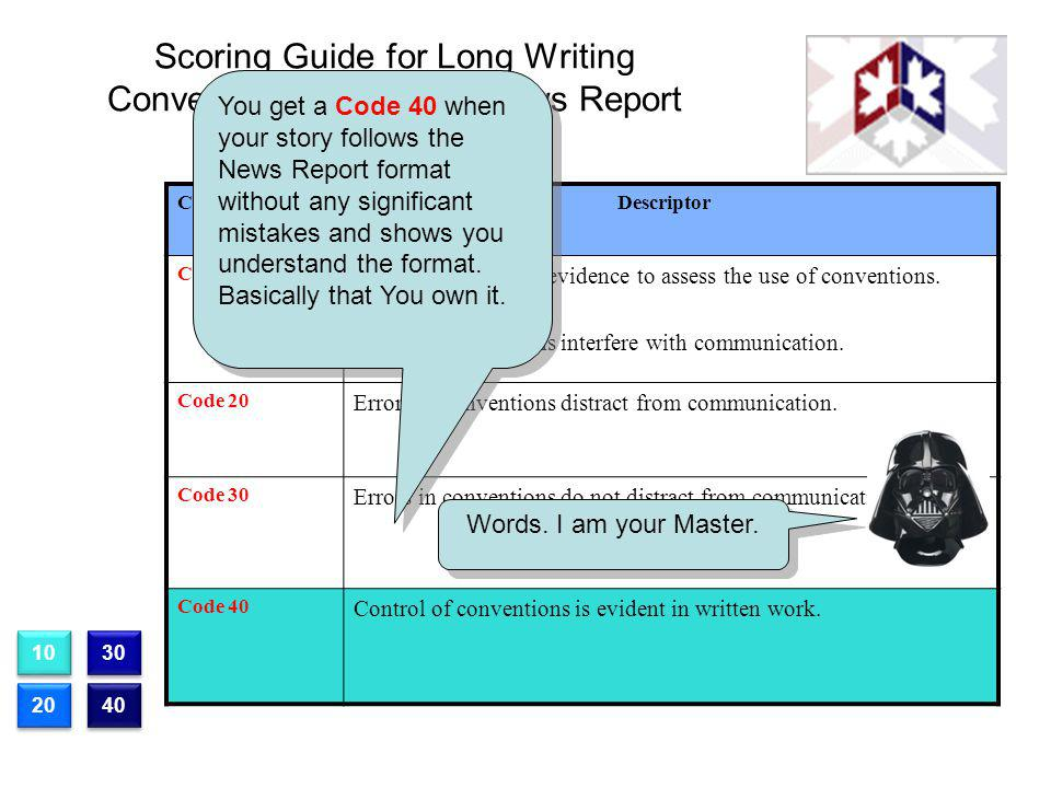 Scoring Guide for Long Writing Conventions Section IV News Report Question 1 CodeDescriptor Code 10 There is insufficient evidence to assess the use o