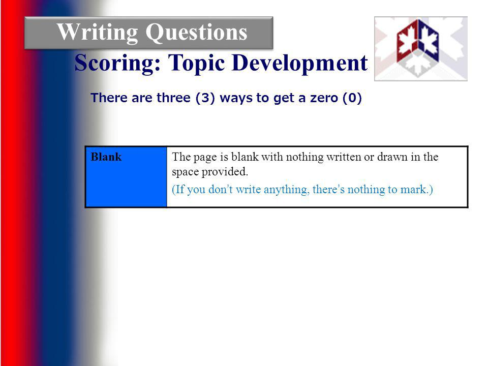 Writing Questions Blank The page is blank with nothing written or drawn in the space provided.