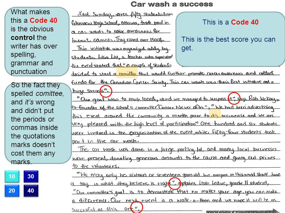 This is a Code 40 This is the best score you can get. What makes this a Code 40 is the obvious control the writer has over spelling, grammar and punct