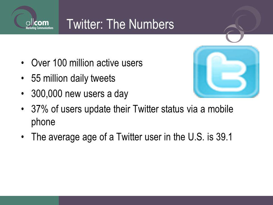 Twitter: The Numbers Over 100 million active users 55 million daily tweets 300,000 new users a day 37% of users update their Twitter status via a mobi