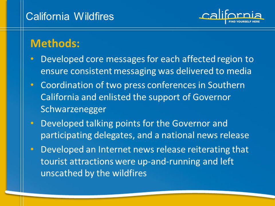 California Wildfires Results: The Southern California wildfire crisis communication outreach generated more than 28 million gross measurable impressions in markets across the country