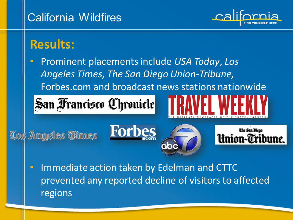 California Wildfires Direct-to-consumer tactics utilized to relay most current information and encourage travel Secured CTTC as a resource for wildfire information with continuous updates and a pinpoint map on www.visitcalifornia.com Conducted Web audit of online travel sites, blogs and message boards to verify public perception of Southern California wildfires – determined if aggressive social media component was necessary