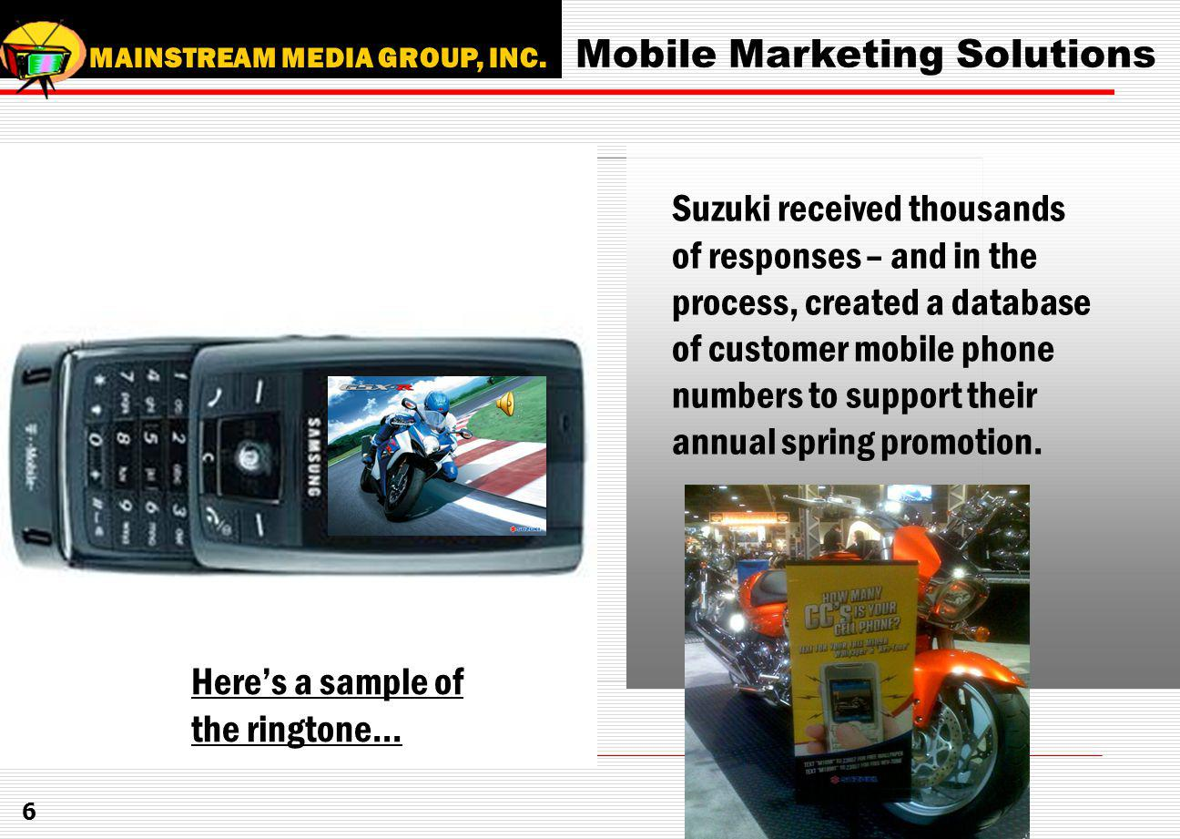 Mobile Marketing Solutions MAINSTREAM MEDIA GROUP, INC.
